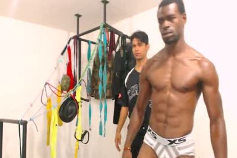 Tairon And Alexandro - Flirt4Free - ebony guy In Army Garb Flexes while Latino Buddy Gives Him A Hard cook jerking